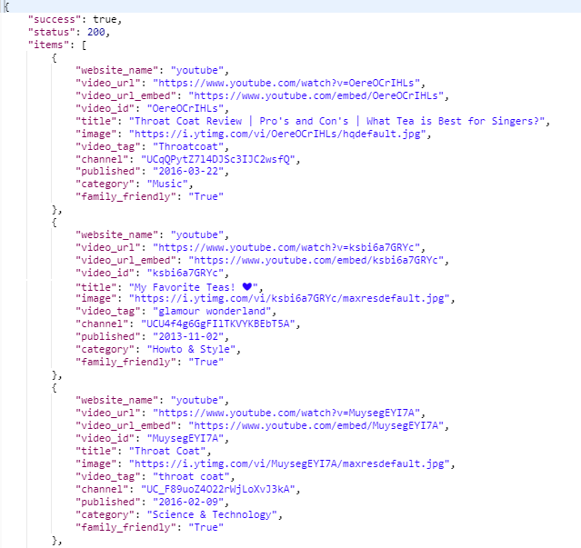 This is an example response from the Videos API.