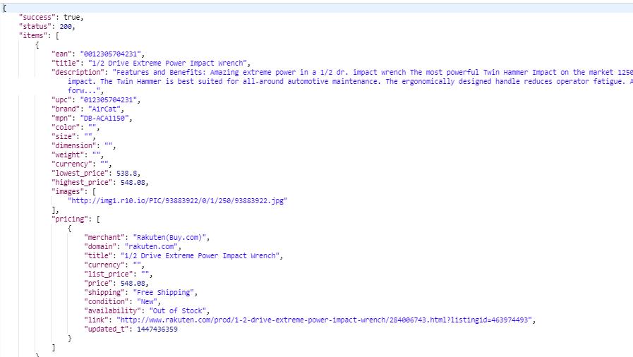 Product Data API 1